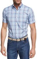 Peter Millar Peak Plaid Short-Sleeve Sport Shirt, Light Blue