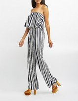Charlotte Russe Striped Strapless Tiered Jumpsuit