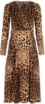 Dolce & Gabbana Leopard Print Belted Dress