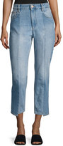 Isabel Marant Clancy Mixed-Denim Cropped Straight-Leg Jeans