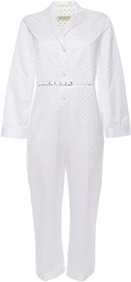 Emilio Pucci Belted Perforated Cotton-blend Sateen Jumpsuit