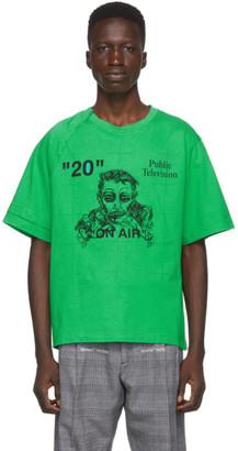 Off-White Green and Black Public Television Mirko Artist T-Shirt