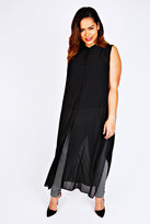 Yours Clothing Black Maxi Length Button Down Sleeveless Shirt