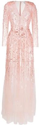 Elisabetta Franchi Embellished Floral Applique Gown