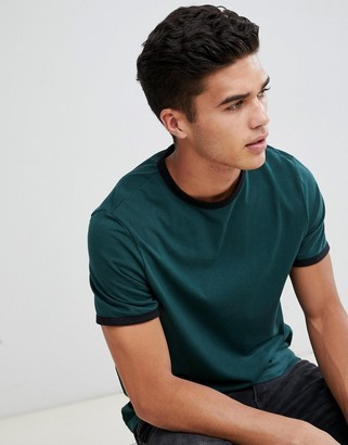 Asos Design DESIGN t-shirt with crew neck with contrast ringer in green