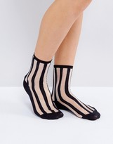Monki Sheer Stripe Socks