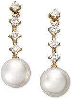 Belle de Mer 14k Gold Earrings, Cultured Freshwater Pearl (8mm) and Diamond (1/3 ct. t.w.) Four-Stone Earrings