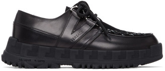 Versace Black Greca Rhegis Lace-Up Brogues