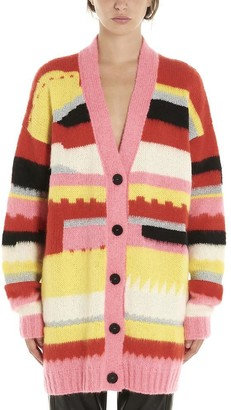 MSGM Striped V-Neck Cardigan