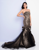Terani Couture 1721E4116 Strapless Mermaid Gown with Long Train