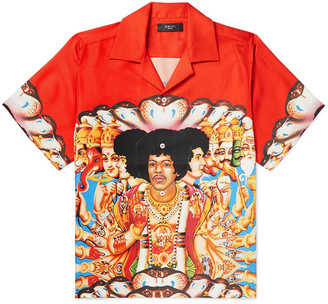Amiri Camp-Collar Printed Silk-Twill Shirt - Men