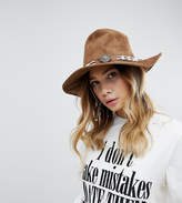 Sacred Hawk Fedora Hat With Western Details In Faux Leather