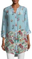 Tolani Chloe Striped Floral Button-Front Shirt