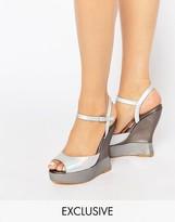 Terry De Havilland Electra Silver Wedge Sandals