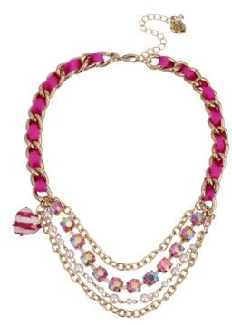 """Betsey Johnson Stone Pearl Layered Necklace, 16.5"""" + 3"""" extender"""