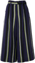 Issey Miyake striped flared trousers