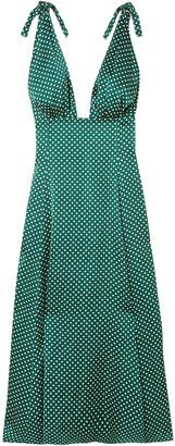 ALEXACHUNG Polka-dot Crepe De Chine Midi Dress