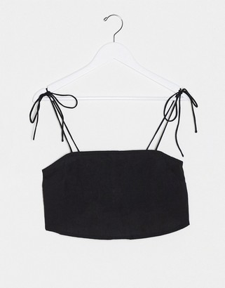 ASOS DESIGN linen square neck cami with tie shoulder in Black