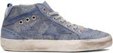 Golden Goose Deluxe Brand Blue Glitter Mid Star Sneakers