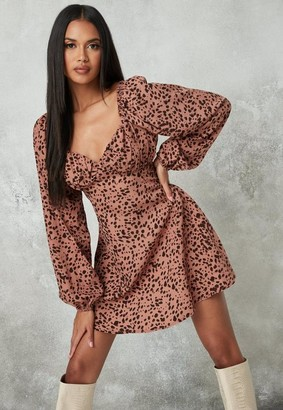 Missguided Blush Dalmatian Print Milkmaid Skater Dress