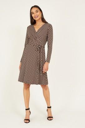 Yumi Geometric Print Wrap Jersey Dress