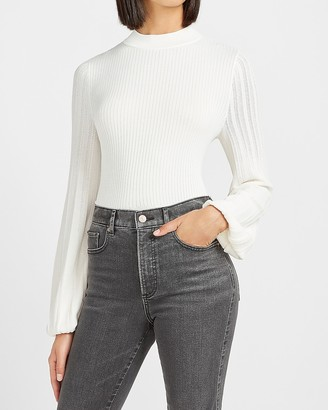 Express Fitted Ribbed Balloon Sleeve Sweater
