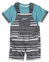 Calvin Klein Baby Boys Colorblocked Tee and Overalls Set