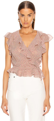 Icons Objects of Devotion The Flutter Sleeve Blouse in Pink Poppy | FWRD