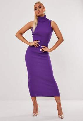Missguided Roll Neck Sleeveless Knitted Midaxi Dress