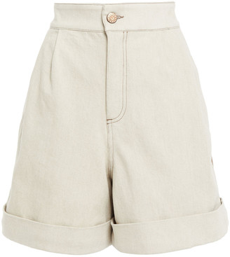 See by Chloe Two-tone Denim And Twill Shorts