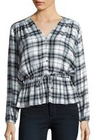 Romeo & Juliet Couture Corded Waist Plaid Top