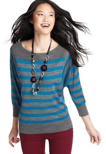 LOFT Striped 3/4 Dolman Sleeve Sweater