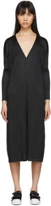 Pleats Please Issey Miyake Black Pleats V-Neck Dress