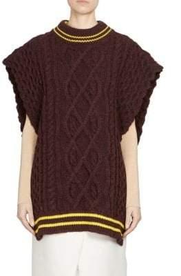 Maison Margiela Cable-Knit Wool Cape Sweater