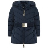 MonnaLisa MonnalisaBaby Girls Navy Down Coat With Fur Pom Poms