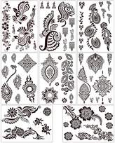 BMC 8 Sheet Set Ornate Floral Color Temporary Body Art Henna Tattoos