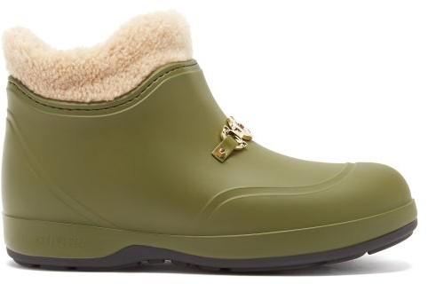 Gucci Crossby Zumi-plaque Shearling-lined Rubber Boots - Green