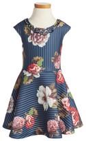 Hannah Banana Girl's Floral Print Scuba Dress
