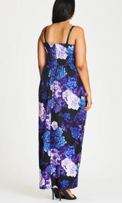 City Chic Strapless Faux Wrap Hydrangea Print Maxi Dress