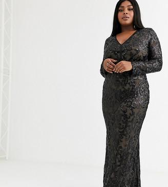 Goddiva Plus mesh sequin plunge front maxi dress in black