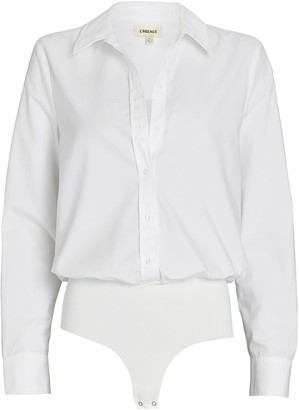 L'Agence Blake Cotton Button-Down Bodysuit