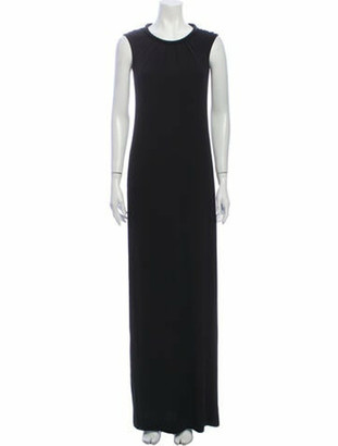 Burberry Crew Neck Long Dress Black