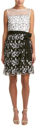 Ellen Tracy Women's Fit and Flare Dress with Illusion Neckline and Sash