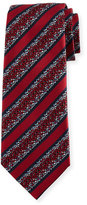 Ermenegildo Zegna Pixelated Stripe Twill Tie, Red