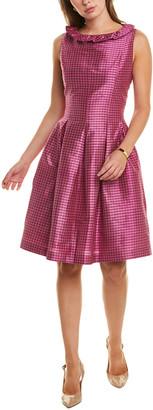Sara Campbell Pleated Silk A-Line Dress