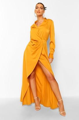 boohoo Draped Wrap Plunge Maxi Dress