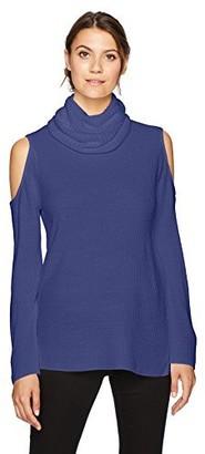 Sag Harbor Women's Long Sleeve Ribbed Cold Shoulder Cowl Neck Pullover
