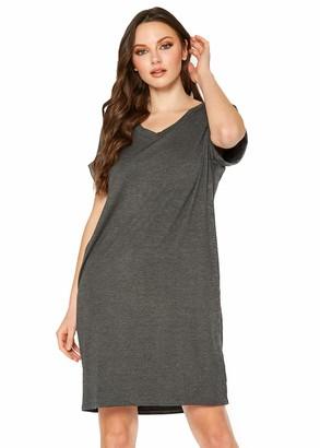 Persephone Women's Basic Solid V-Neck Short Sleeve T-Shirt Dress White 2XL