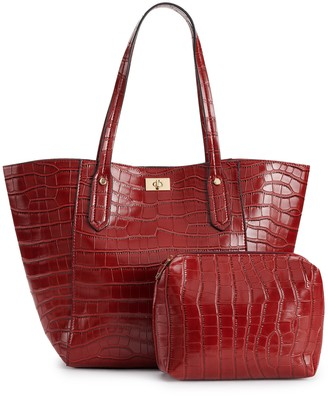 Mellow World Crocodile Print Embossed Tote & Pouch