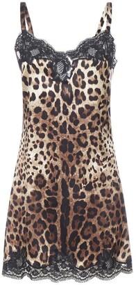 Dolce & Gabbana Leopard Print Lace Trim Slip